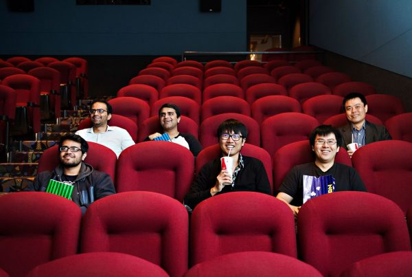 SSIMWAVE Team (Dr. Abdul Rehman, CEO, Dr. Zhou Wang, CSO, and team) in the Princess Cinemas Waterloo, Canada