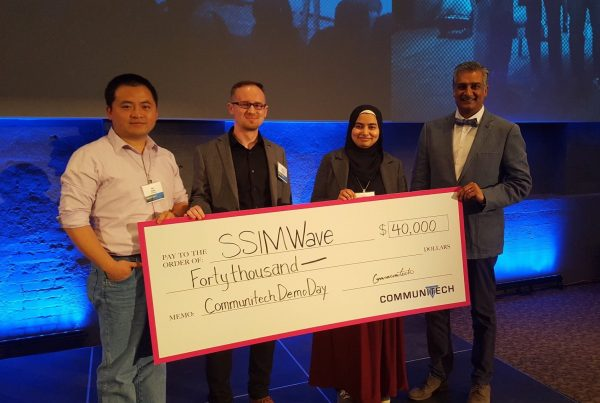 SSIMWAVE Wins Communitech Rev Demo Day and $40,000 - Dr. Kai Zeng, CTO, Damian Sarzynski, Maria Arshad, and Saj Jamal, VP Marketing