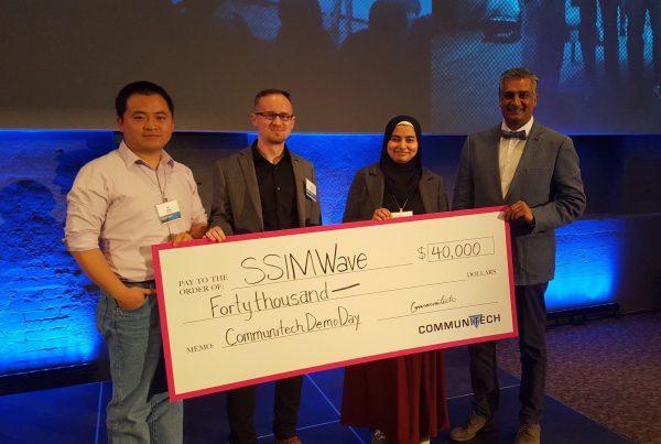 SSIMWAVE Wins Communitech Rev Demo Day and $40,000 - Dr. Kai Zeng, CTO, Damian Sarzynski, Maria Arshad, and Saj Jamal, VP Marketing