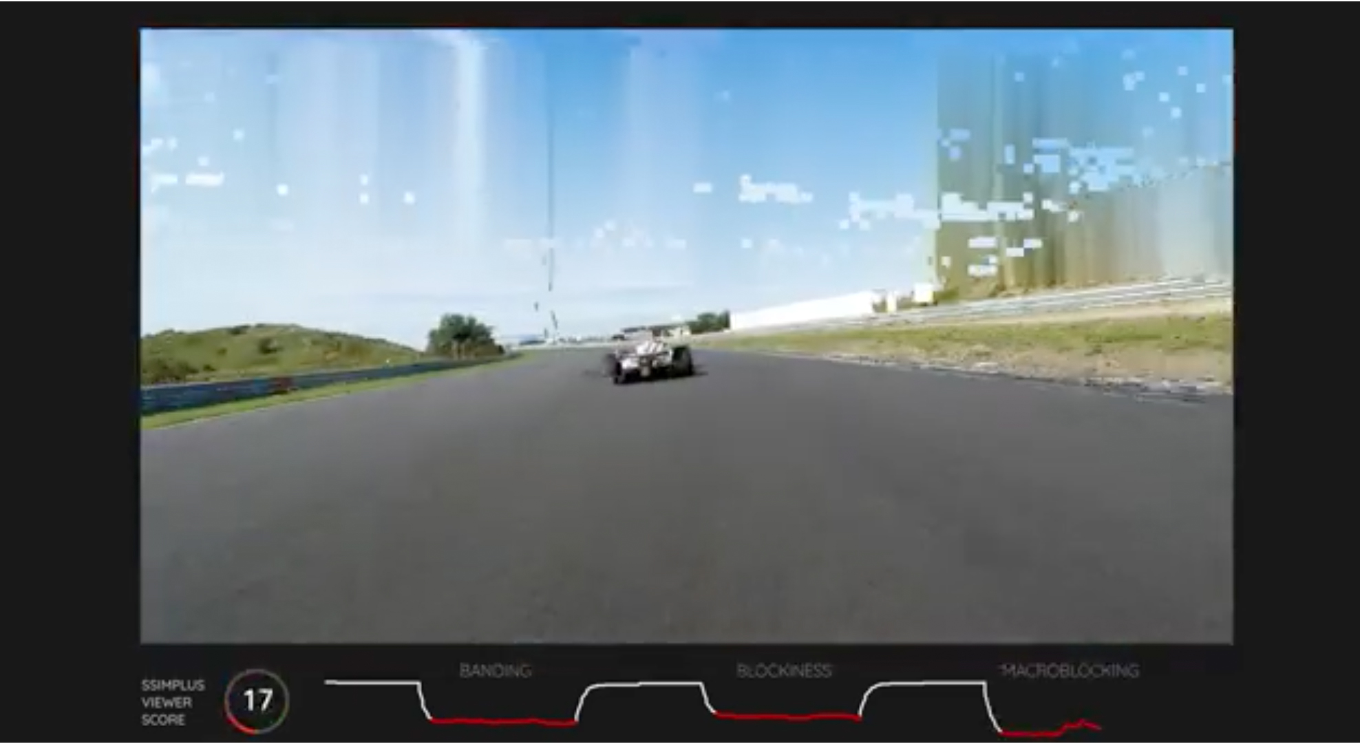 Banding video snapshot with a race car driver in a race car. SSIMWAVW detects these issues and helps you fix them before they reach your viewer.