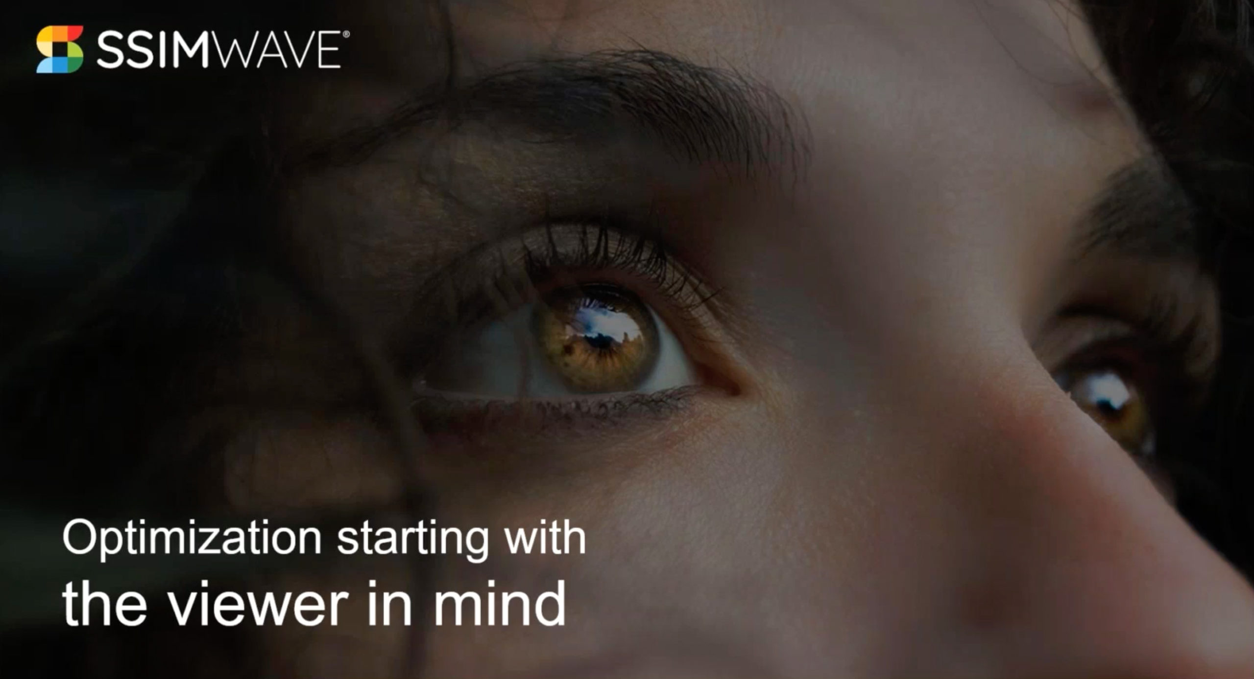 """Webinar first slide """"Optimization starting with the viewer in mind"""""""