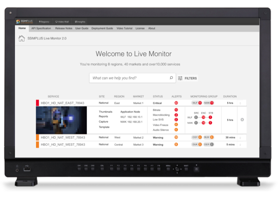 View of Live Monitor dashboard